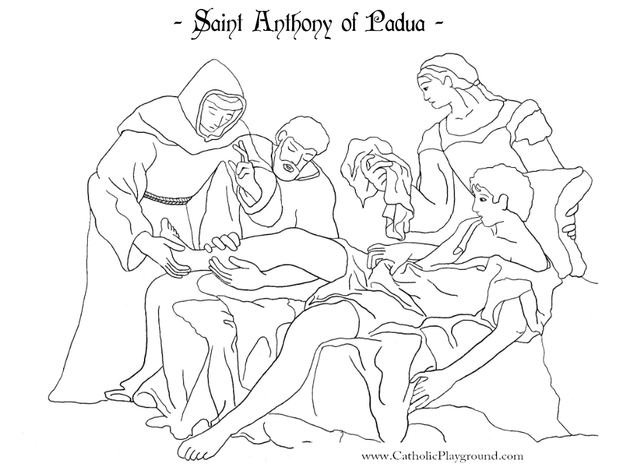 saint anthony of padua coloring page catholic playground