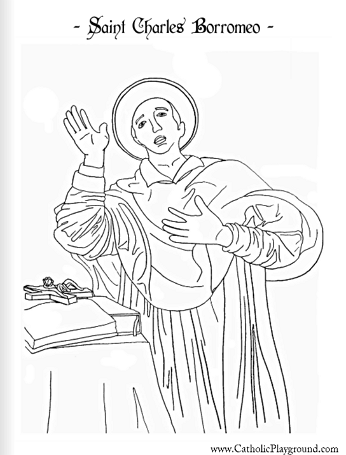 Saint Charles Borromeo coloring page November 4th Catholic Playground