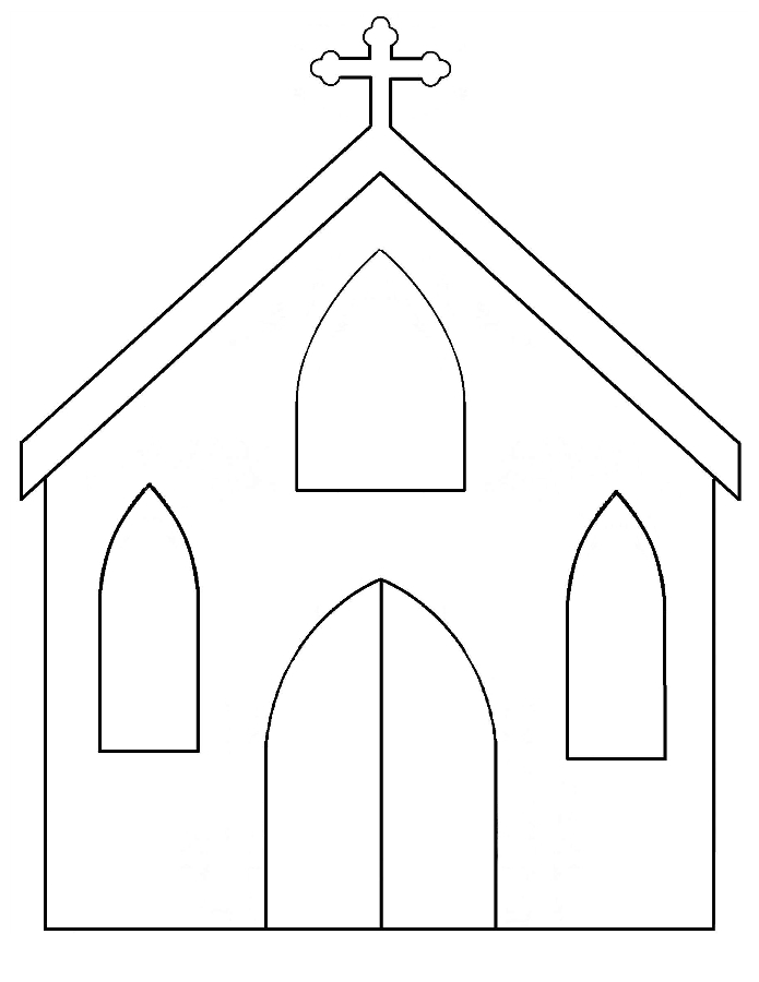 Paper church silhouette template catholic playground maxwellsz