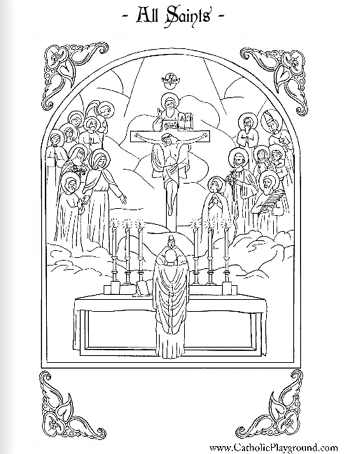 free coloring pages for all saints day | All Saints Coloring Page: November 1st – Catholic Playground