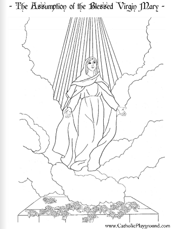 Feast of the Assumption Coloring Page: August 15th – Catholic Playground