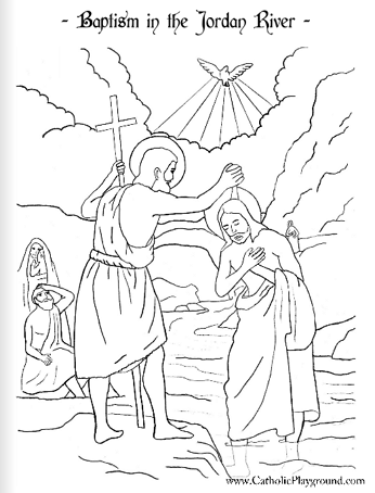 Baptism In The Jordan Coloring Page