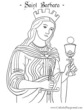 saint barbara coloring page