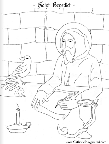 saint benedict coloring page - Catholic Coloring Pages