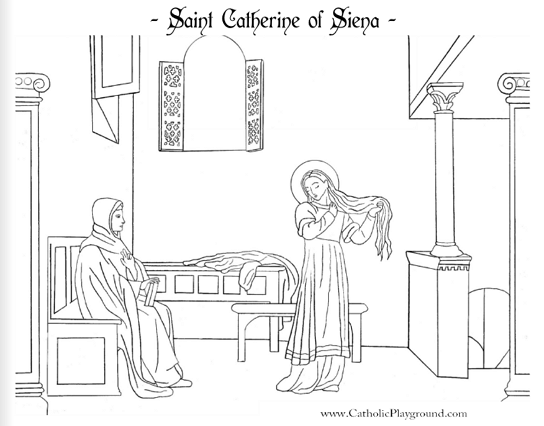 st catherine of siena coloring page - saints coloring pages catholic playground
