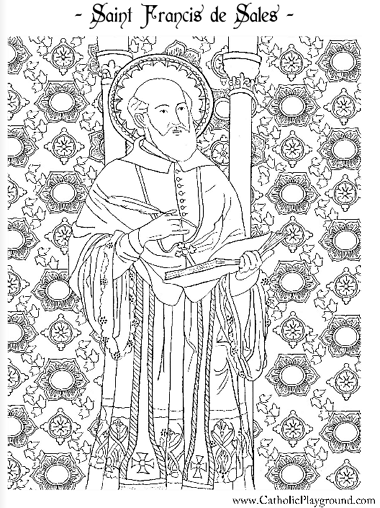 Saint Francis De Sales Coloring Page January 24th Catholic Playground