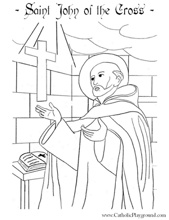 Saint John Of The Cross Coloring Page December 14th Catholic