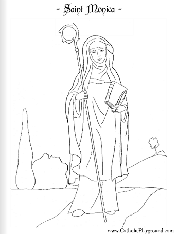 Saint Monica coloring page: August 27th – Catholic Playground
