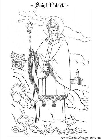 Saint Patrick coloring page March 17th Catholic Playground