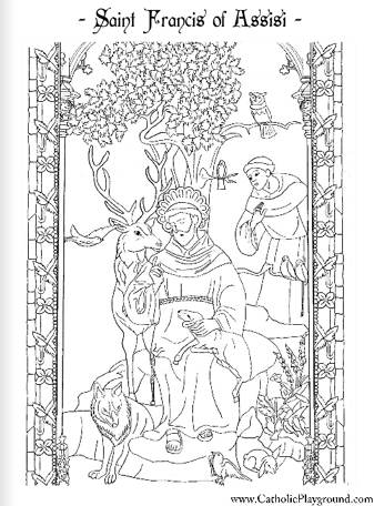 Saint Francis Of Assisi Coloring Page October 4th Catholic Playground