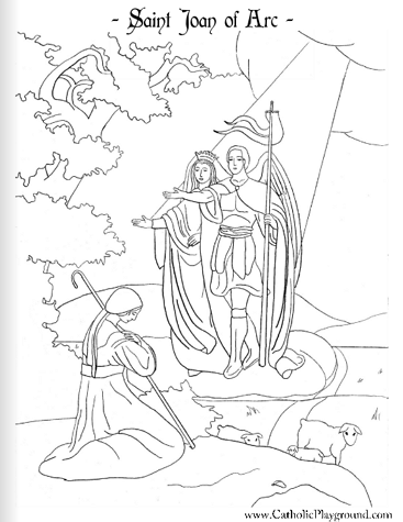 A Coloring Page For May 30th Saint Joan Of Arc on crosses