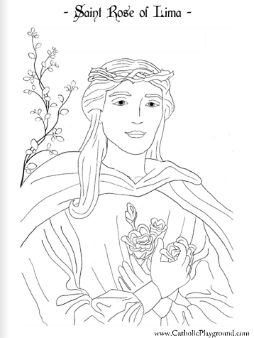 Saint Rose of Lima coloring page: August 23rd – Catholic Playground