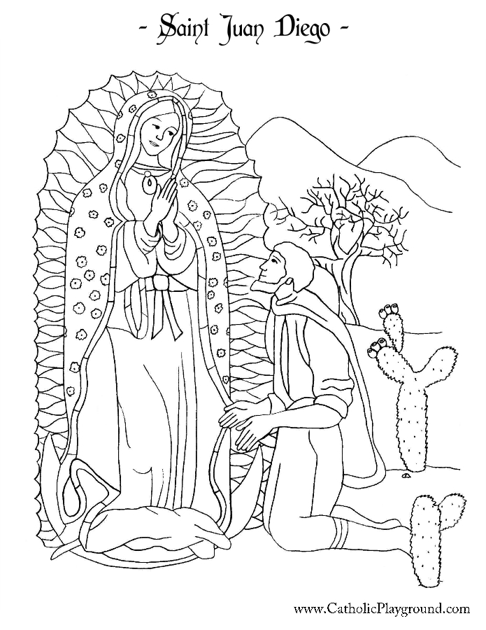 Saint Juan Diego Coloring Page | Catholic Playground