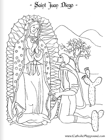 Saint Juan Diego coloring page December 9th Catholic Playground
