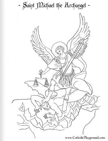 saint michael the archangel coloring page