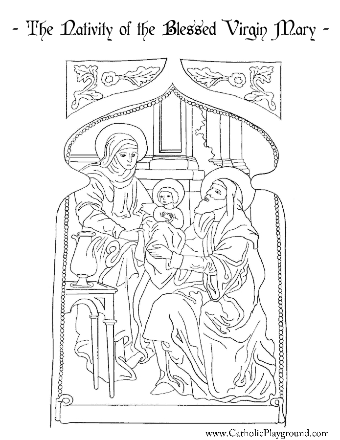 Nativity of the Blessed Virgin Mary Coloring Page | Catholic Playground