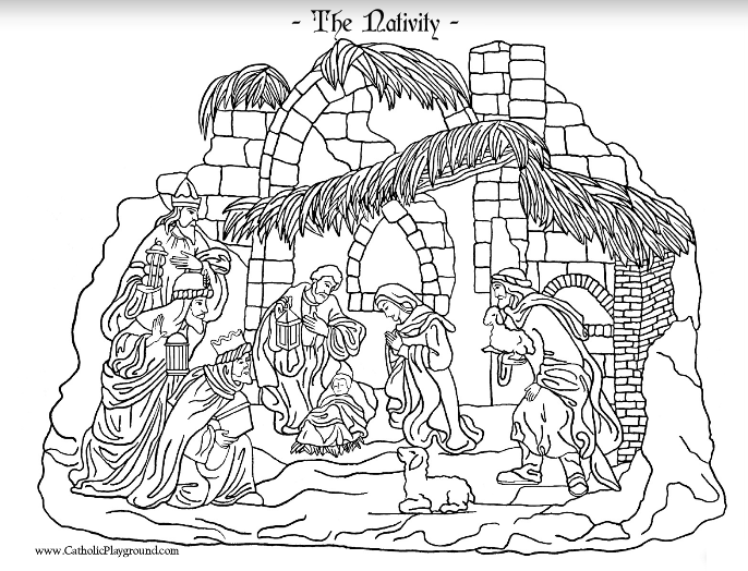 Nativity Coloring Page Catholic Playground