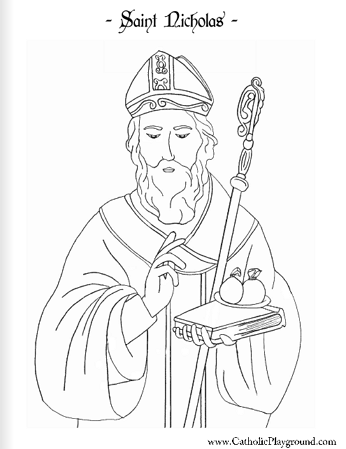Saint Nicholas coloring page December 6th Catholic Playground