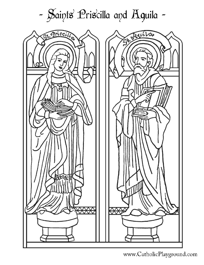 saints priscilla and aquila coloring page catholic playground