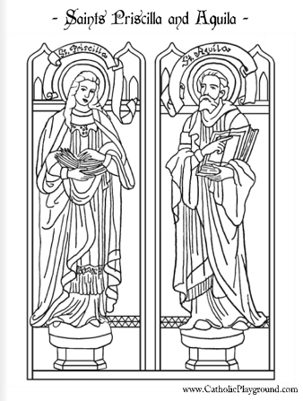 saints priscilla and aquila coloring page - Coloring Pages Catholic Sacraments