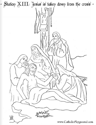Thirteenth Station Of The Cross Coloring Page
