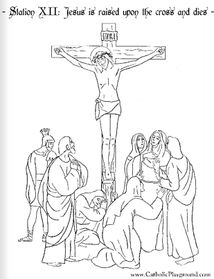 Coloring page for the Twelfth Station of the Cross Jesus is raised