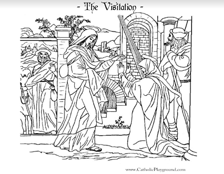 Visitation Coloring Page Catholic Playground